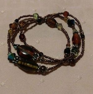 Glass Beaded 3 strand Stretch Bracelet